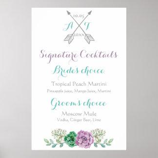 Wedding sign signature cocktails bothanical flower