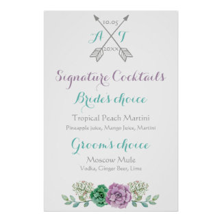 Wedding sign signature cocktails bothanical flower poster