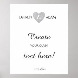 Wedding sign silver glietter heart, custom text poster