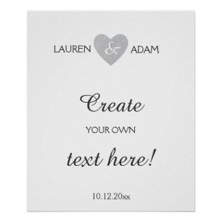 Wedding sign silver glitter heart, custom text