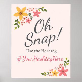 Wedding Sign Social Media Hashtag Pastel Flower Poster
