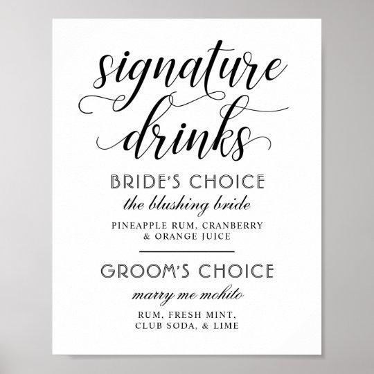 Wedding Signature Drinks Poster Sign | Black White