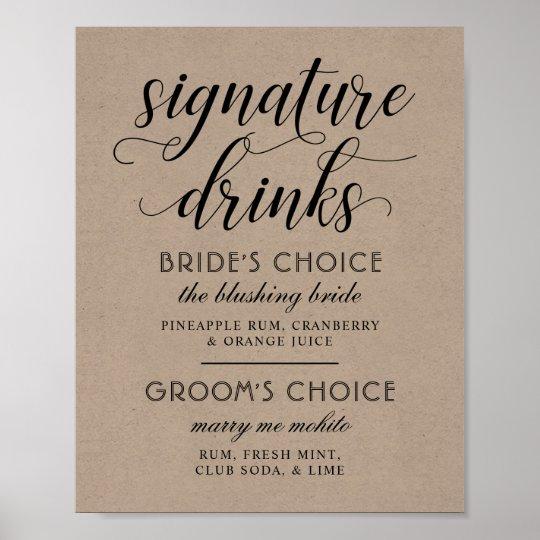 Wedding Signature Drinks Poster Sign | Kraft Brown