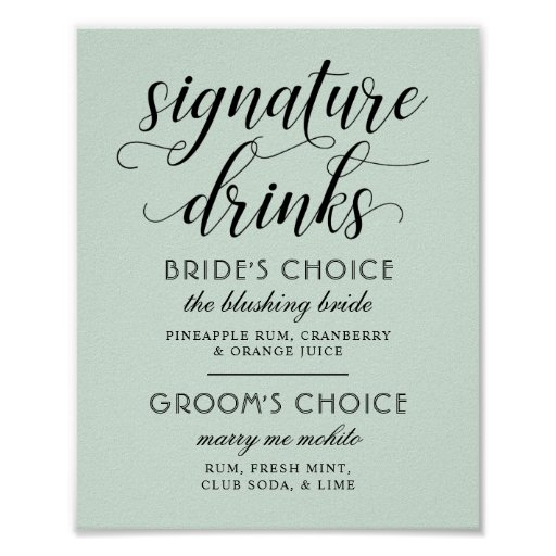 Wedding Signature Drinks Poster Sign | Mint Green