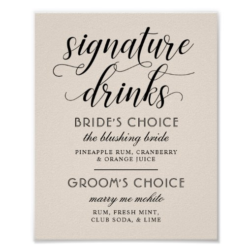 Wedding Signature Drinks Poster Sign | Warm White