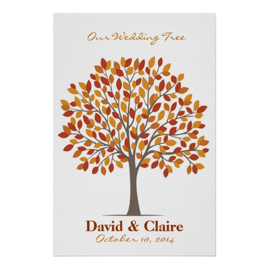 Wedding Signature Tree Poster – Natural Fall-XL