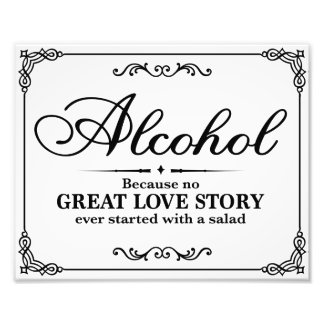 Wedding signs - Black & White - Alocohol -