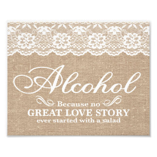 Wedding Signs - Burlap & Lace - Alcohol -
