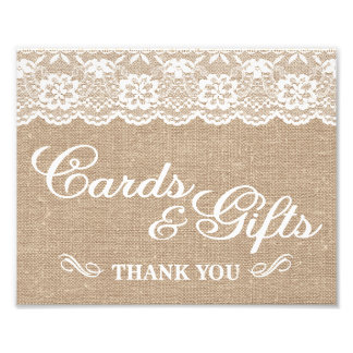 Wedding Signs - Burlap & Lace - Cards & Gifts -