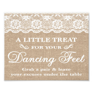 Wedding Signs - Burlap & Lace - Dancing Feet - Photograph