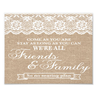 Wedding Signs - Burlap & Lace - Freinds & Family -