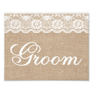 Wedding Signs - Burlap & Lace - Groom -