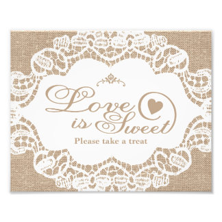 Wedding Signs - Burlap & Lace - Love is Sweet -
