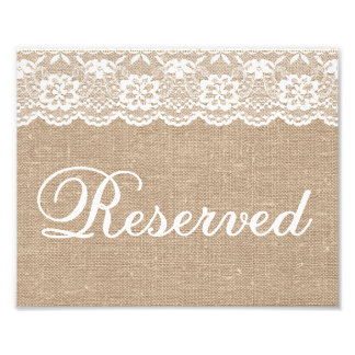 Wedding Signs - Burlap & Lace - Reserved -