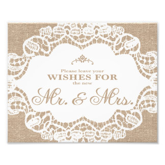 Wedding Signs - Burlap & Lace - Wishes -