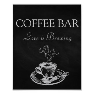 Wedding Signs Coffee Bar Poster