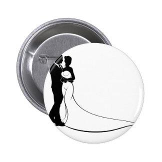 Wedding Silhouette Bride and Groom 6 Cm Round Badge