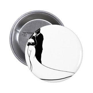 Wedding Silhouette Bride and Groom 6 Cm Round Badge