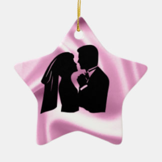 Wedding Silhouette on Pink Silk Christmas Ornament