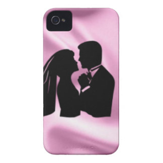 Wedding Silhouette on Pink Silk iPhone 4 Cover