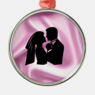 Wedding Silhouette on Pink Silk Silver-Colored Round Decoration