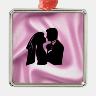 Wedding Silhouette on Pink Silk Silver-Colored Square Decoration