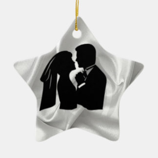 Wedding Silhouette on White Silk Christmas Ornament