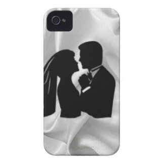 Wedding Silhouette on White Silk iPhone 4 Case