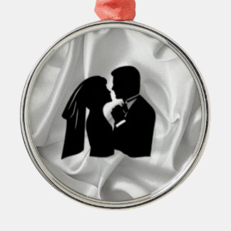 Wedding Silhouette on White Silk Silver-Colored Round Decoration