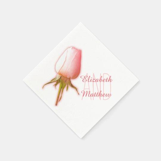Wedding single pink white rose named paper napkin