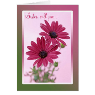 Wedding. Sister. Bridesmaid Card. Daisy flowers. Card