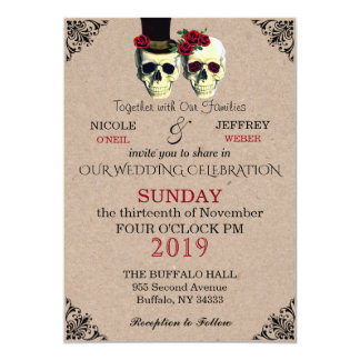 Wedding Skeleton Skulls Goth Retro Invitation