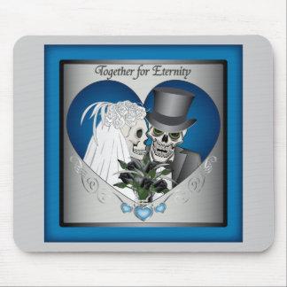 Wedding Skulls - Blue Mousepad