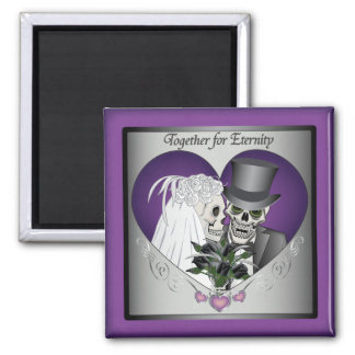 Wedding Skulls Square Magnet