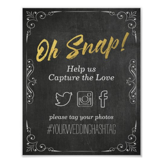 Wedding Snap Hashtag Black Gold Script Chalkboard Poster