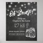 Wedding Snap Hashtag Mason Jar Lights Chalkboard Poster