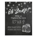 Wedding Snap Hashtag Mason Jar Lights Chalkboard Poster