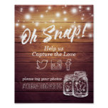 Wedding Snap Hashtag Rustic Wood Mason Jar Lights Poster