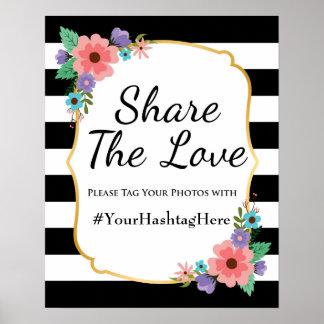 Wedding Social Media Hashtag Sign Stripes Flower Poster