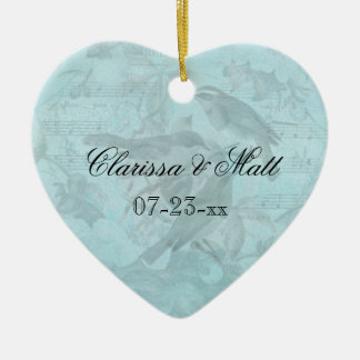 Wedding Songbirds Custom Heart Keepsake Ornament