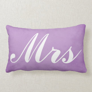Wedding Souvenir Mr and Mrs Purple Parchment Lumbar Cushion