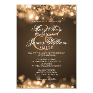 Wedding Sparkling Lights Gold 13 Cm X 18 Cm Invitation Card