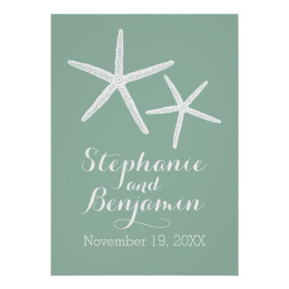 Wedding Starfish with Custom Bride Groom and Date Poster
