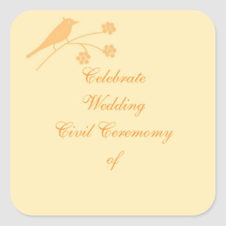 Wedding Stationary and Civil Ceremony customise Square Sticker