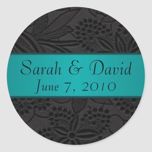 Wedding sticker black with teal ribbon