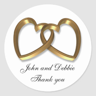 Wedding sticker for Thank you favors 3D hearts