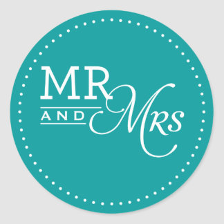 WEDDING STICKER mr & mrs modern typography teal