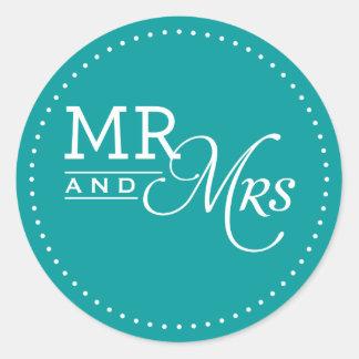 WEDDING STICKER mr & mrs modern typography teal