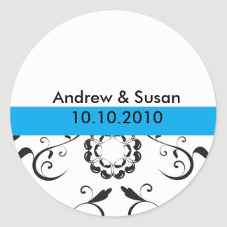 Wedding Stickers - coral flowers blue