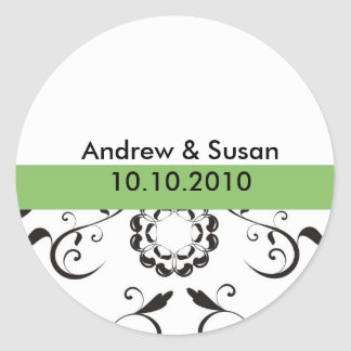 Wedding Stickers - coral flowers green